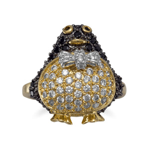 14 Karat Gold Plated Brass Penguin Ring with CZs - Rocky Mt. Discount Outlet