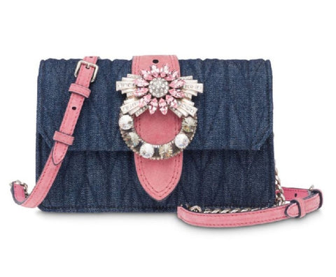 New Miu Miu Quilted Blue Denim and Rosa Pink Suede Crossbody with Rhinestone Detail 5BH077