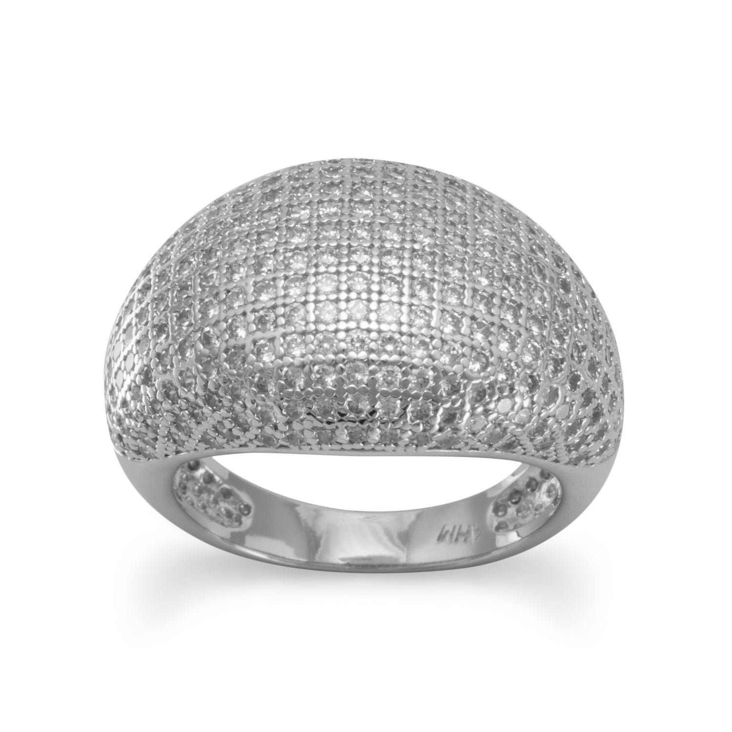 Rhodium Plated Micro Pave CZ Ring