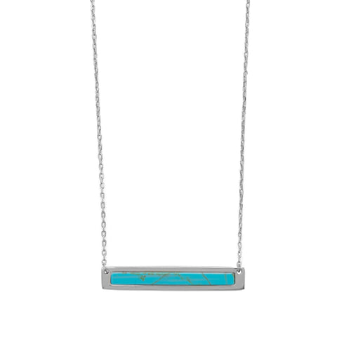 "16""+2 Rhodium Plated Turquoise Bar Necklace"