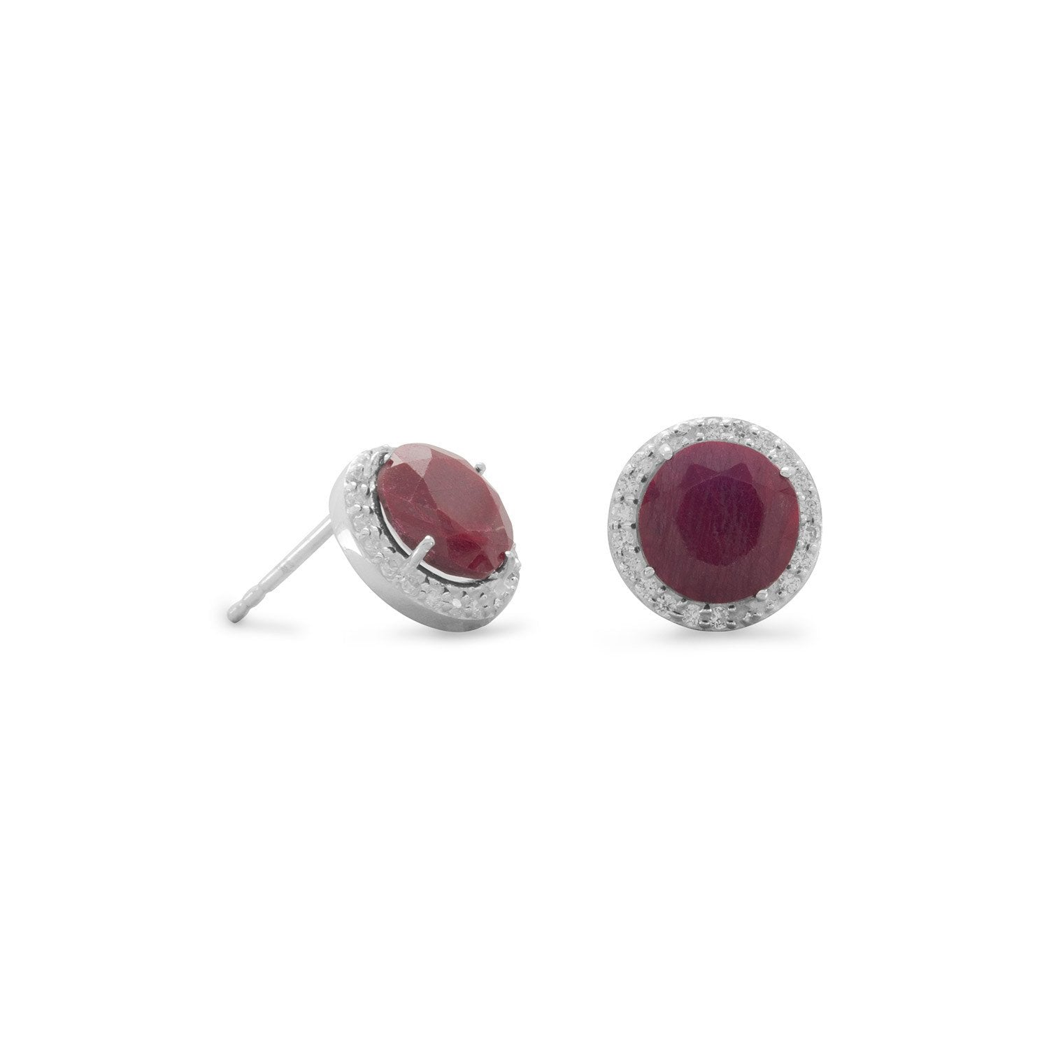 Corundum Stud Earrings with CZ Edge - Rocky Mt. Discount Outlet