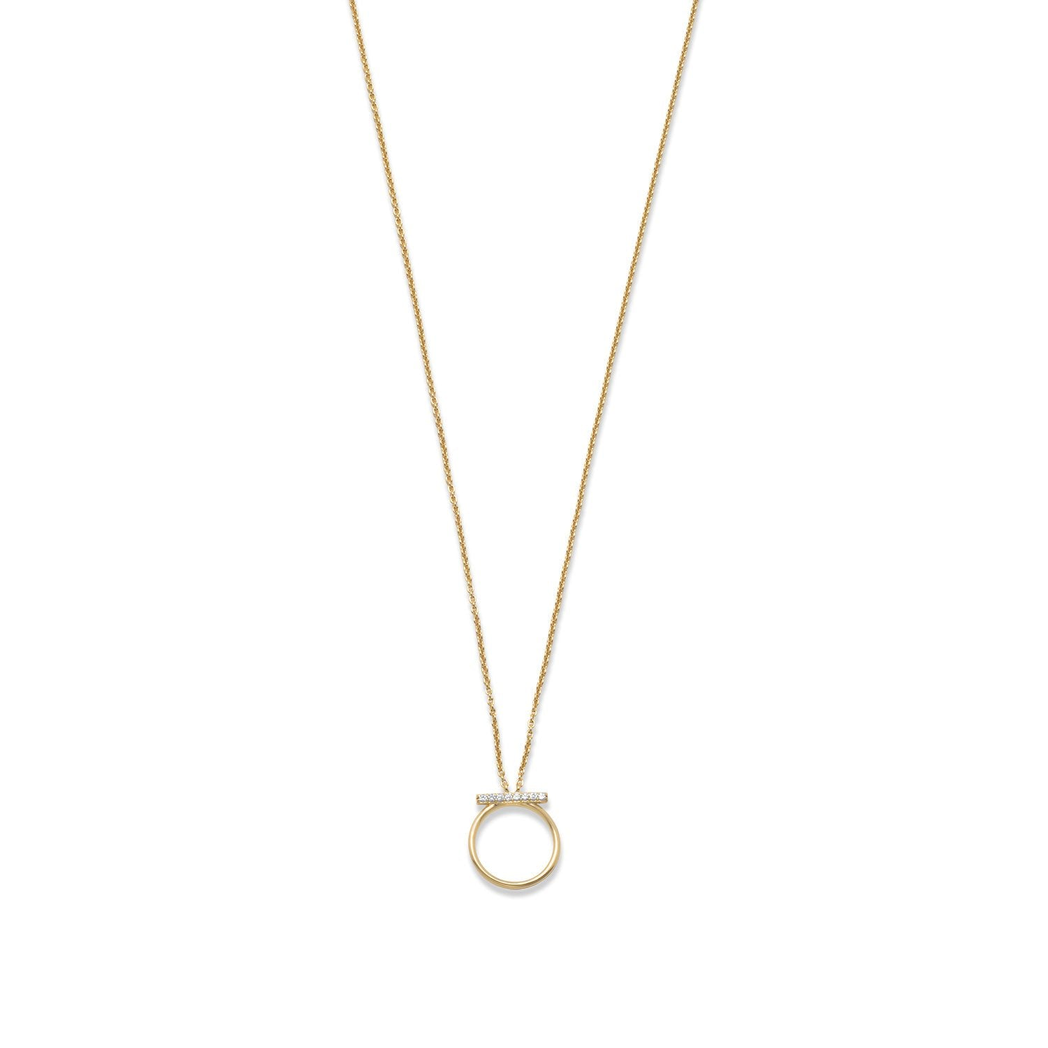 18 Karat Gold Plated CZ Bar and Circle Necklace - Rocky Mt. Discount Outlet