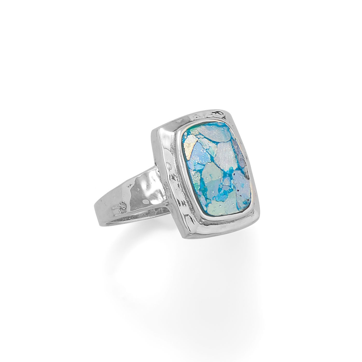 .925 Sterling Silver Hammered Roman Glass Ring