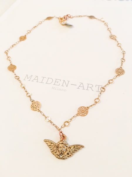 18Kt Gold Plated Cherub Charm Necklace.