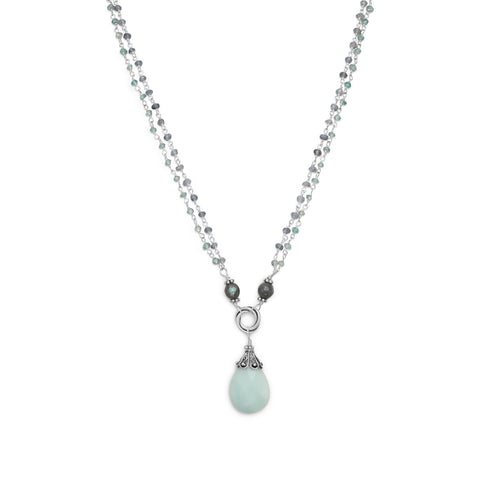 925 Sterling Silver Baila Luna Mint Chocolate Drop Necklace