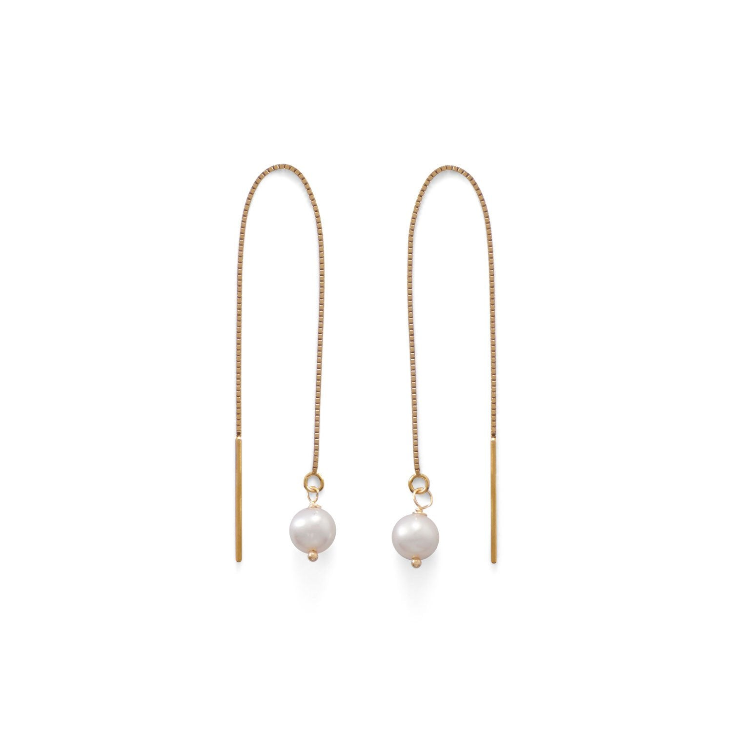 14 Karat Gold Cultured Freshwater Pearl Threader Earrings - Rocky Mt. Discount Outlet