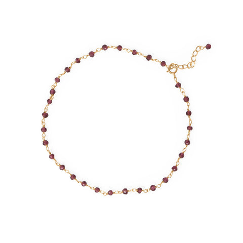 "Gorgeous Garnet! 9.5""+1 14 Karat Gold Plated Beaded Anklet"