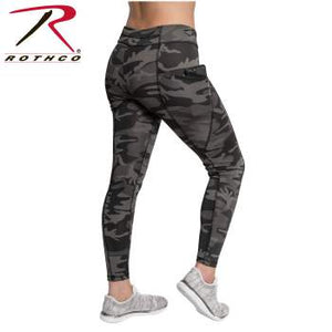 Rothco Womens Workout Performance Camo Leggings With Pockets - Black Camo