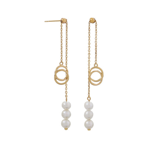 14 Karat Gold Slide Earrings with Cultured Freshwater Pearls - Rocky Mt. Discount Outlet