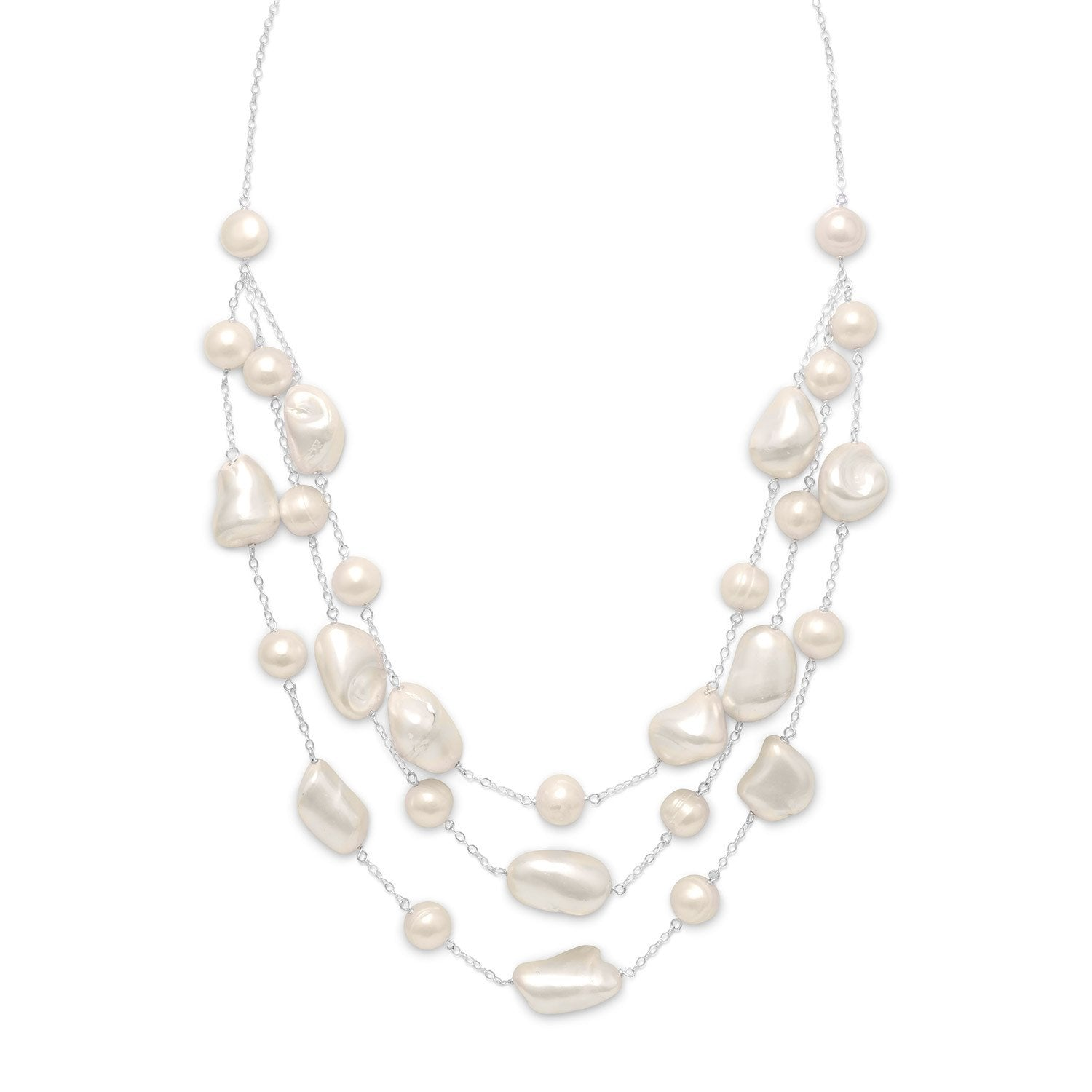 "16""+2"" Extension Graduated Shell and Cultured Freshwater Pearl Necklace - Rocky Mt. Discount Outlet"