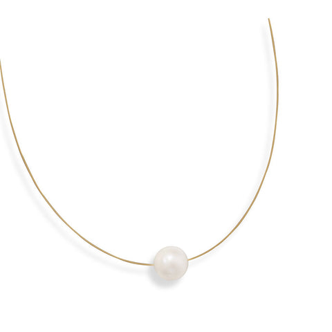 "16"" 24 Karat Gold Plated Necklace with Cultured Freshwater Pearl - Rocky Mt. Discount Outlet"