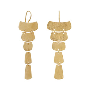 Trendy 14 Karat Gold Plated Textured Cascading Plate Earrings - Rocky Mt. Outlet Inc - Shop & Save 24/7