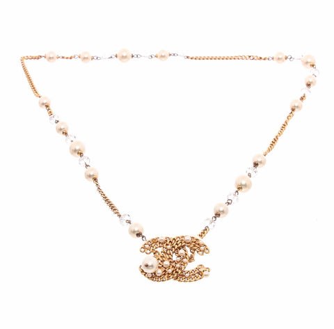Chanel Faux Pearl & Crystal CC Pendant Necklace