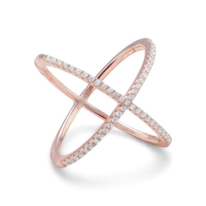 18 Karat Rose Gold Plated Criss Cross 'X' Ring with Signity CZs - Rocky Mt. Discount Outlet