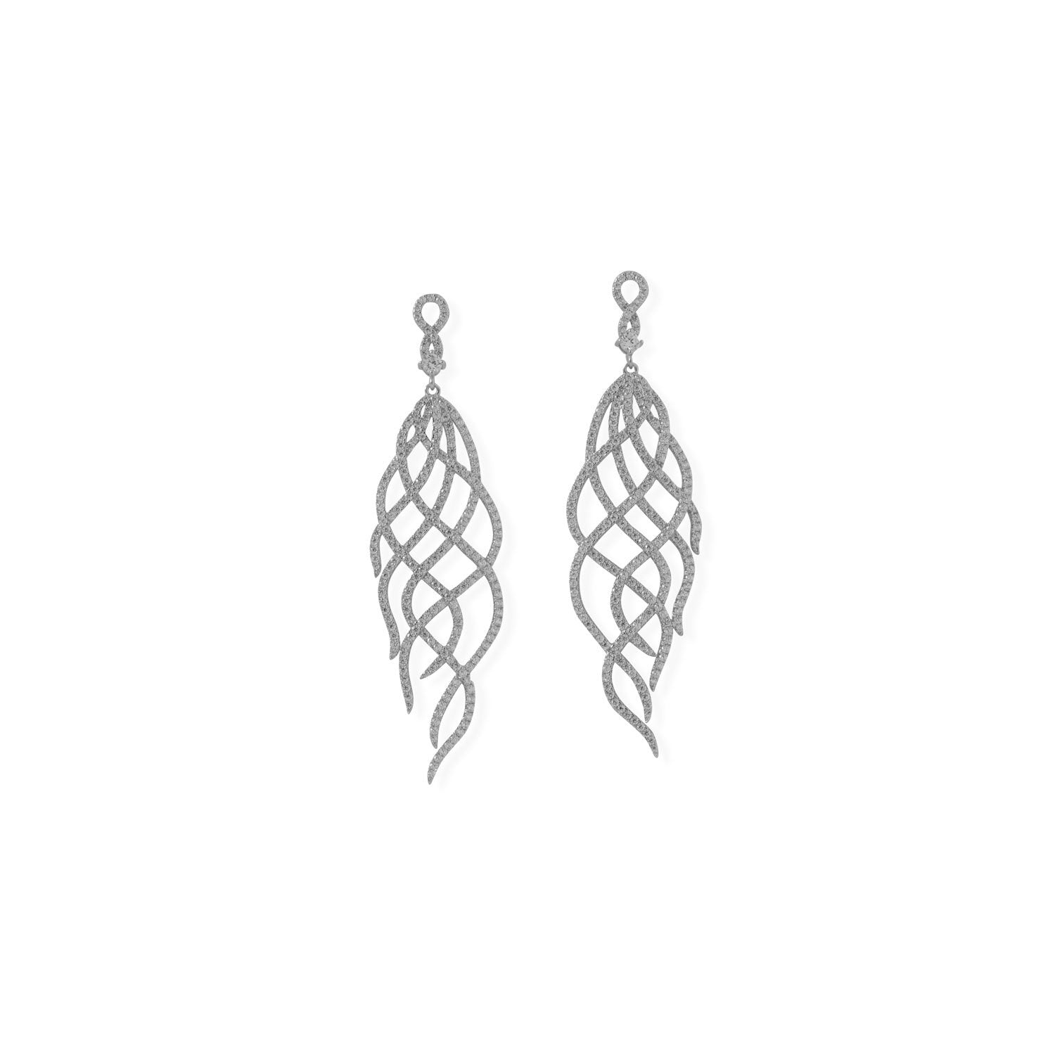 Rhodium Plated CZ Swirl Drop Earrings