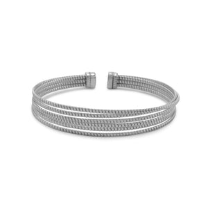 Rhodium Plated 6 Row Cuff Bracelet - Rocky Mt. Outlet Inc - Shop & Save 24/7