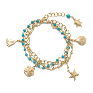 3 Strand 14K Gold Plated Bracelet with Nautical Charms and Reconstituted Turquoise - Rocky Mt. Discount Outlet