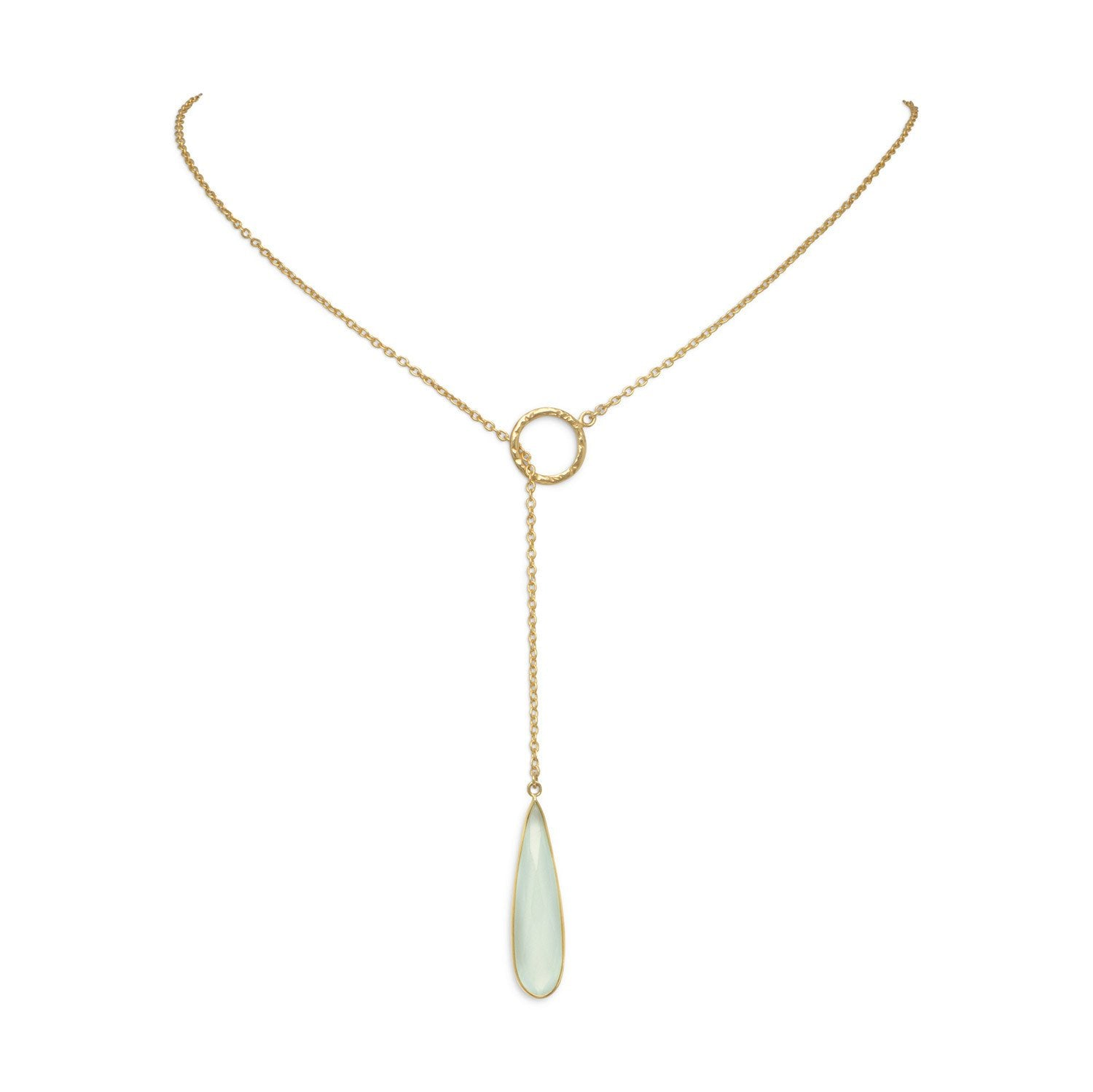 14 Karat Gold Plated Lariat Necklace with Chalcedony Drop - Rocky Mt. Outlet Inc - Shop & Save 24/7