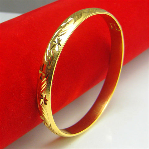 Gorgeous 18 K Bamboo Leaves Carved Hongkong Gold Handmade 1:1 Quality Bangles Cuff Bracelet - Rocky Mt. Outlet Inc - Shop & Save 24/7