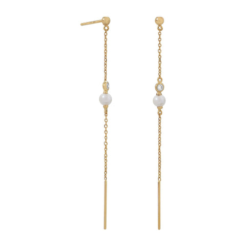14 Karat Gold Chain Earrings with Cultured Freshwater Pearl and CZ - Rocky Mt. Discount Outlet