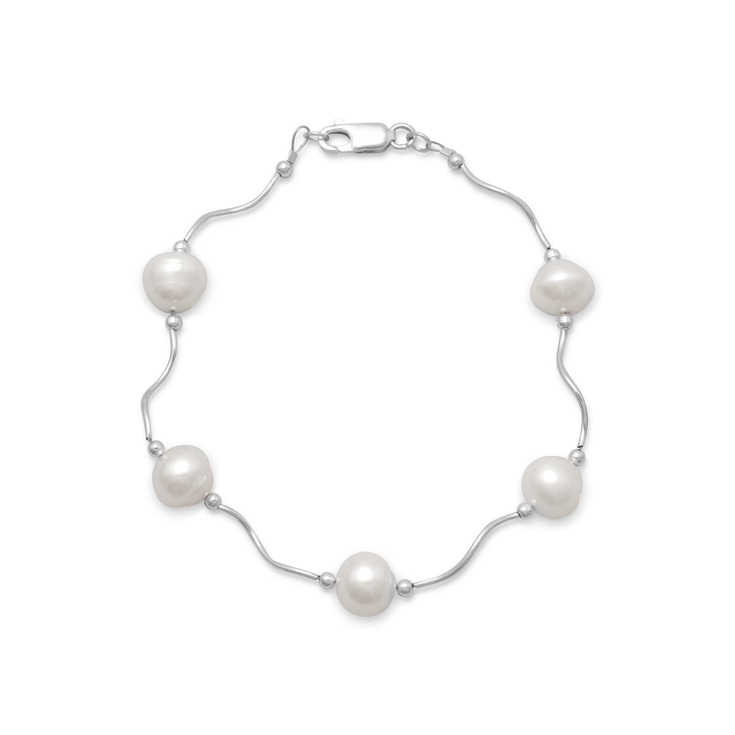 "925 Sterling Silver 8"" Wave Design Bracelet with Cultured Freshwater Pearls"
