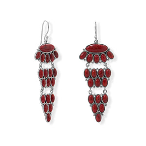 925 Sterling Silver Tiered Dyed Red Coral Earring