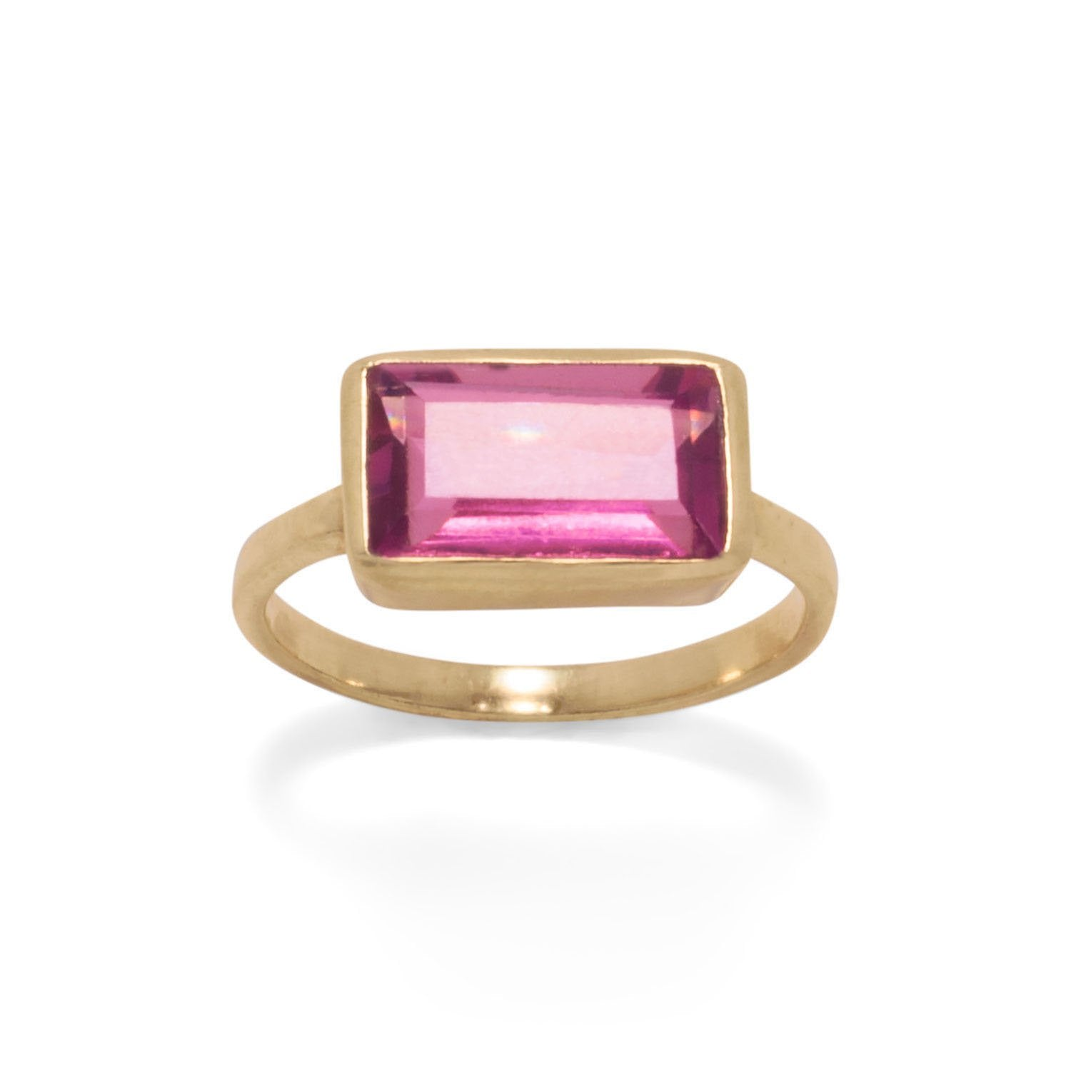 14 Karat Gold Plated Pink Glass Rectangle Ring - Rocky Mt. Discount Outlet
