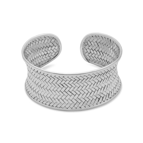 Fashionable 925 Sterling Silver Concave Woven Cuff Bracelet - Rocky Mt. Outlet Inc - Shop & Save 24/7
