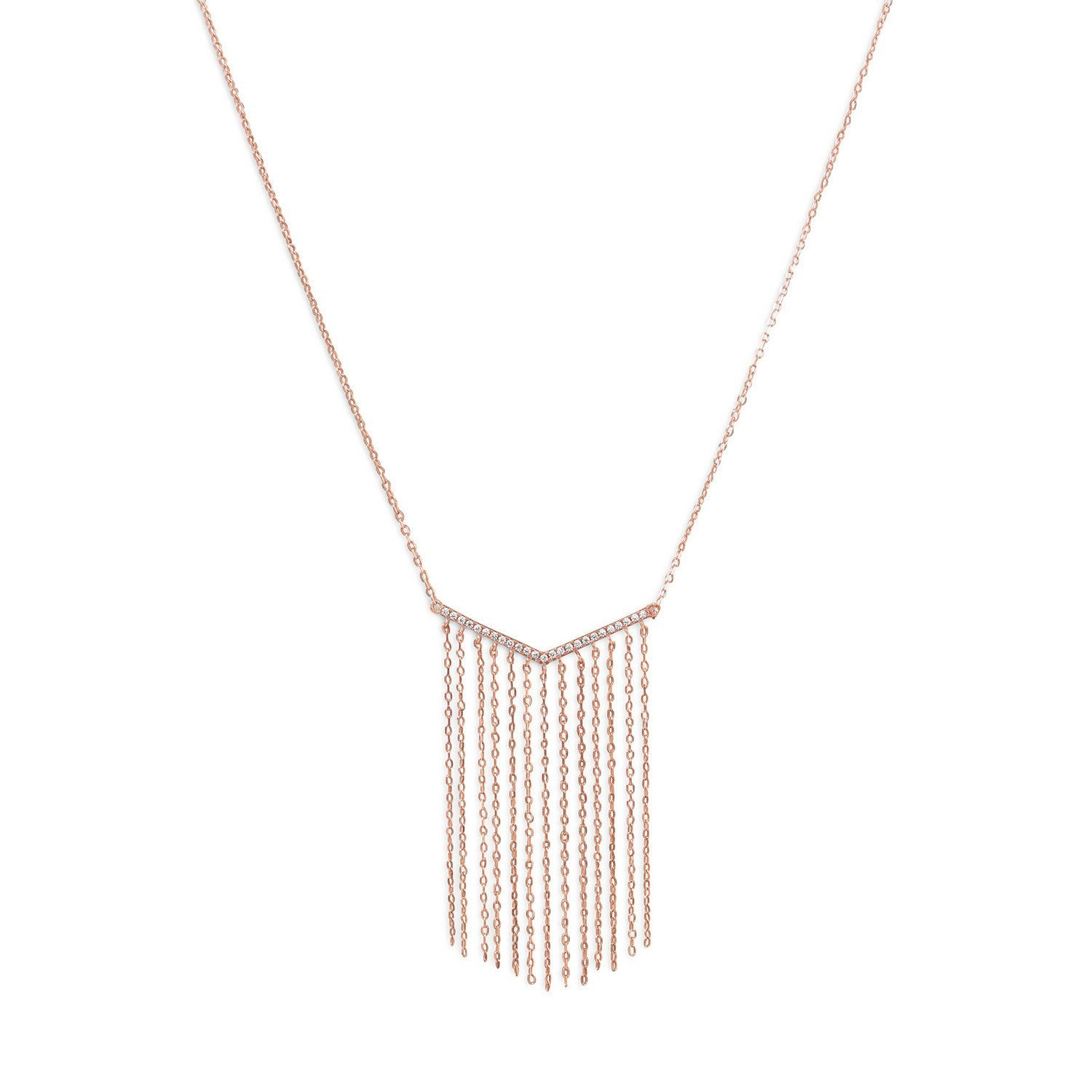 "14 Karat Rose Gold Plated ""V"" Tassel Drop Necklace - Rocky Mt. Discount Outlet"
