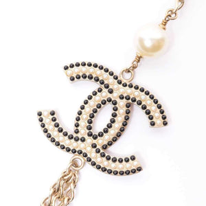 CHANEL Coco Merry Goland Pearl Long Necklace Gold Black