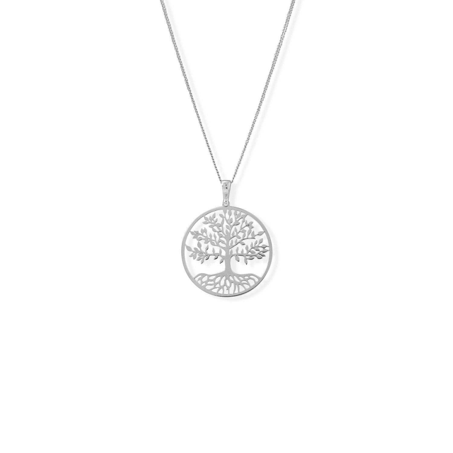 "16""+2"" Rhodium Plated Tree of Life Necklace"
