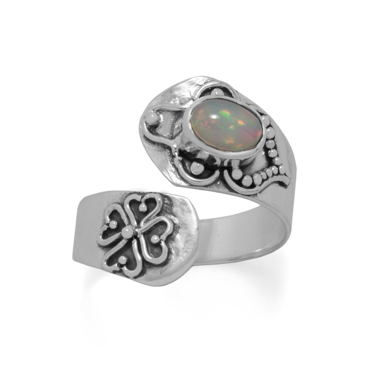Bali Oxidized Ethiopian Opal Wrap Ring