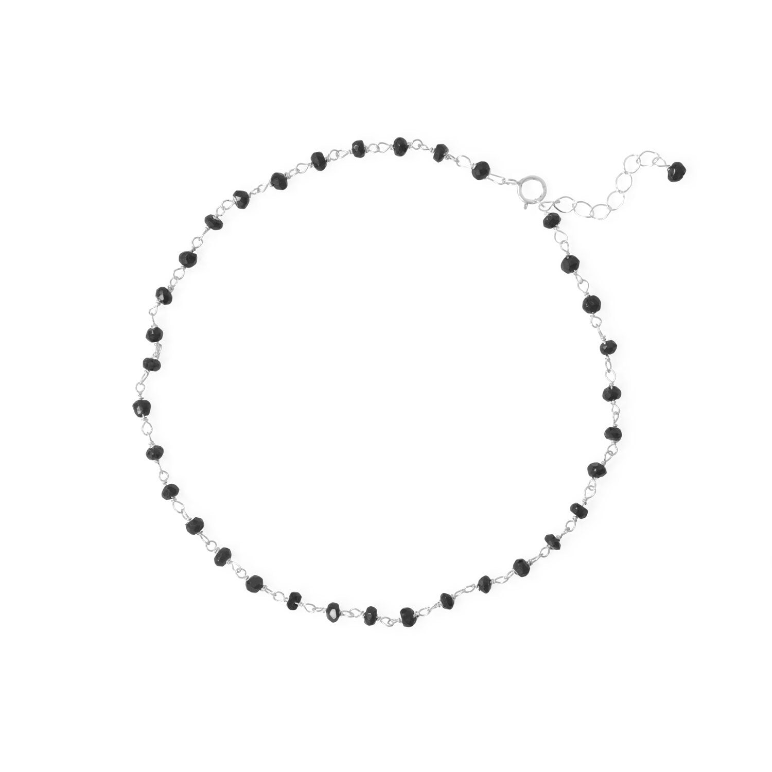 "Midnight Magic! 9.5""+1"" Sterling Silver Beaded Anklet"