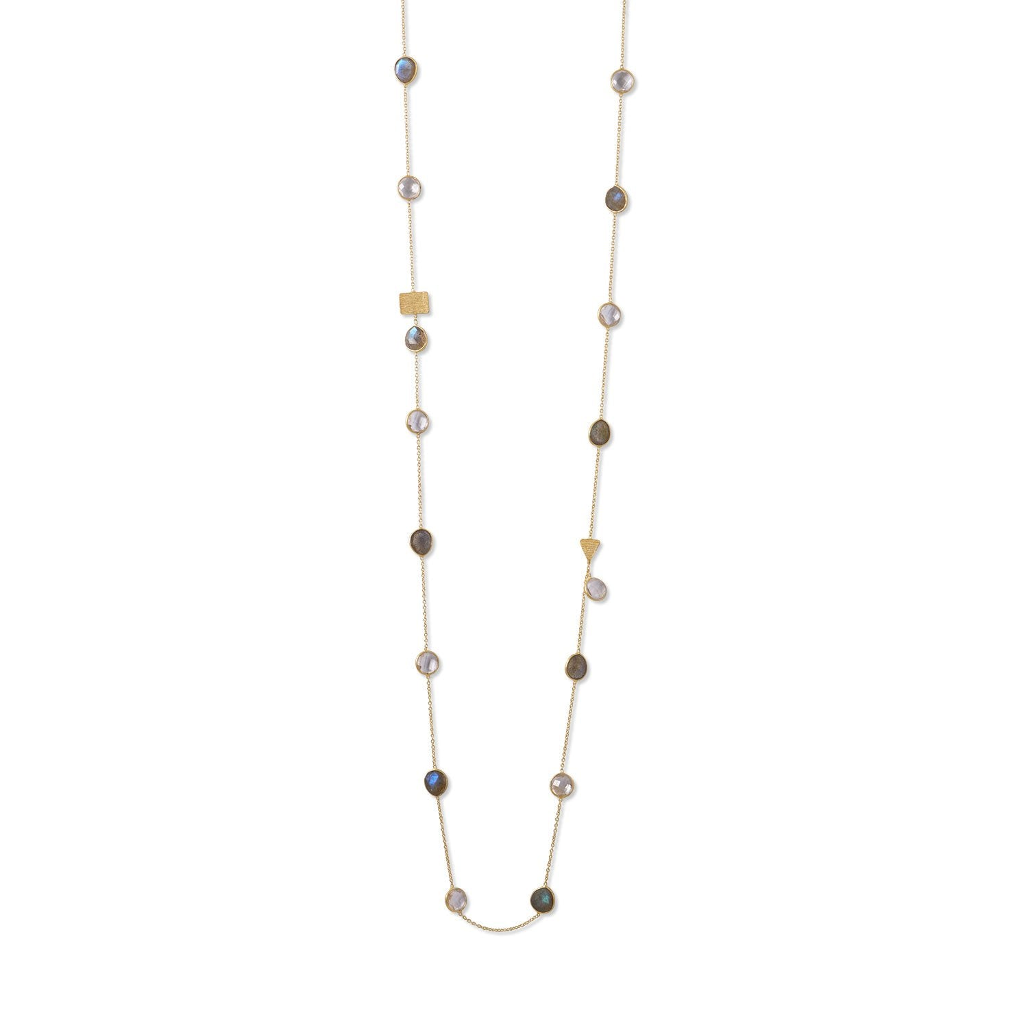 14 Karat Gold Plated Labradorite and Clear Quartz Endless Necklace - Rocky Mt. Discount Outlet