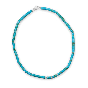 "925 Sterling Silver 21"" Reconstituted Turquoise Heshi Bead Necklace"