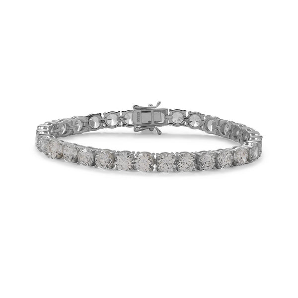 "7.5"" Rhodium Plated 6mm CZ Tennis Bracelet"