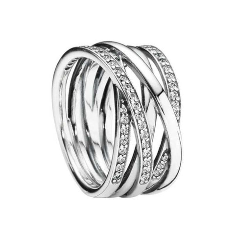 925 Sterling Silver Openwork Eternity Entwined CZ Ring
