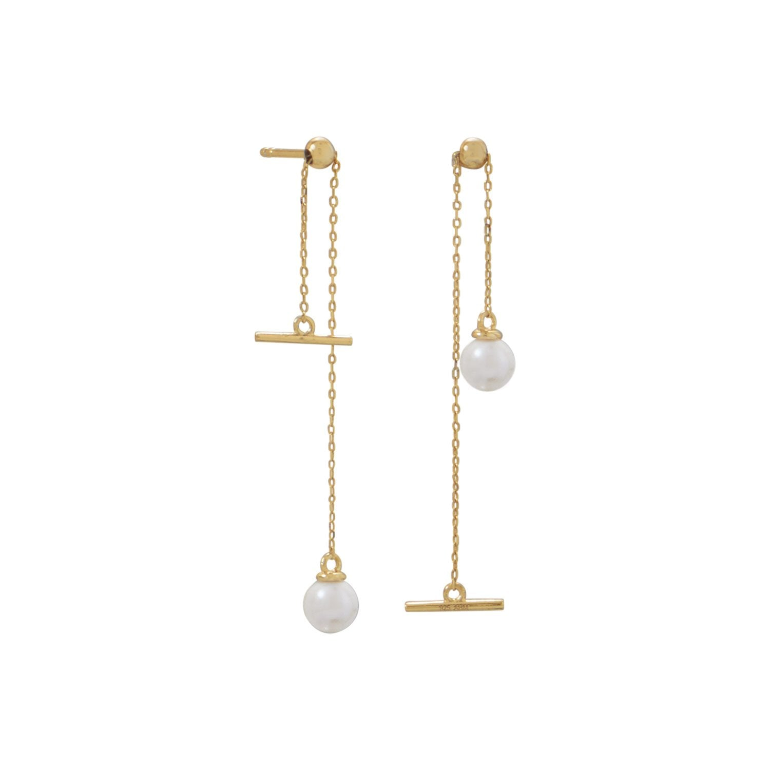 18 Karat Gold Plated Imitation Pearl Slide Earrings - Rocky Mt. Discount Outlet