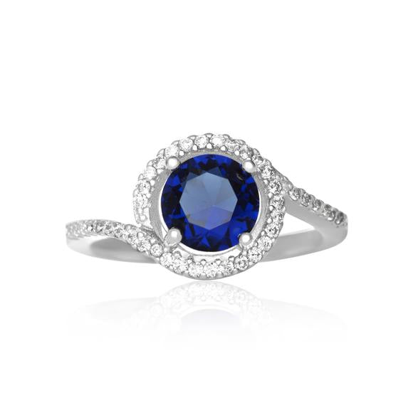 Blue Sapphire Twisting Halo Cubic Zirconia Ring - Rocky Mt. Discount Outlet