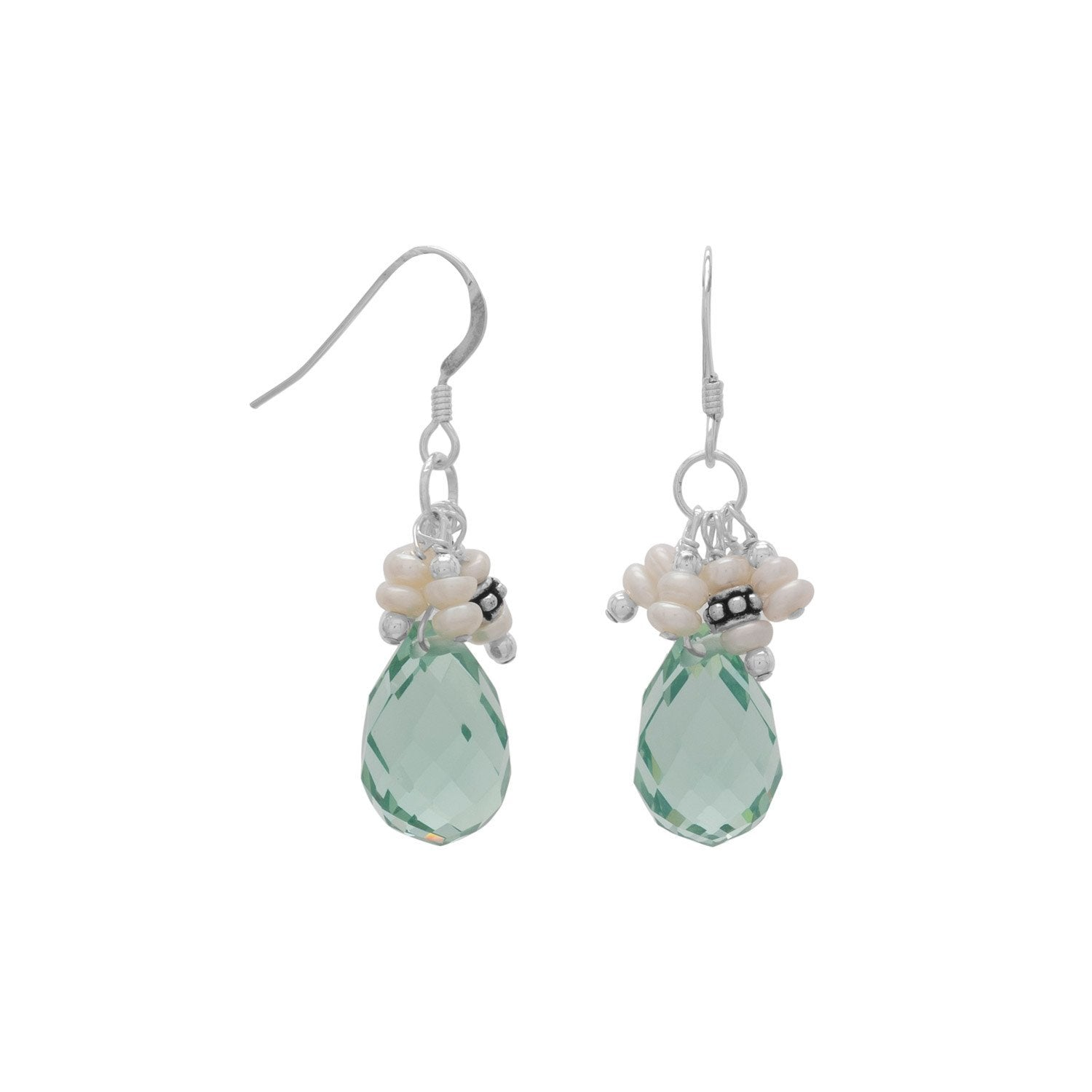 925 Sterling Silver Handmade Earrings with Light Blue Crystal and Pearls