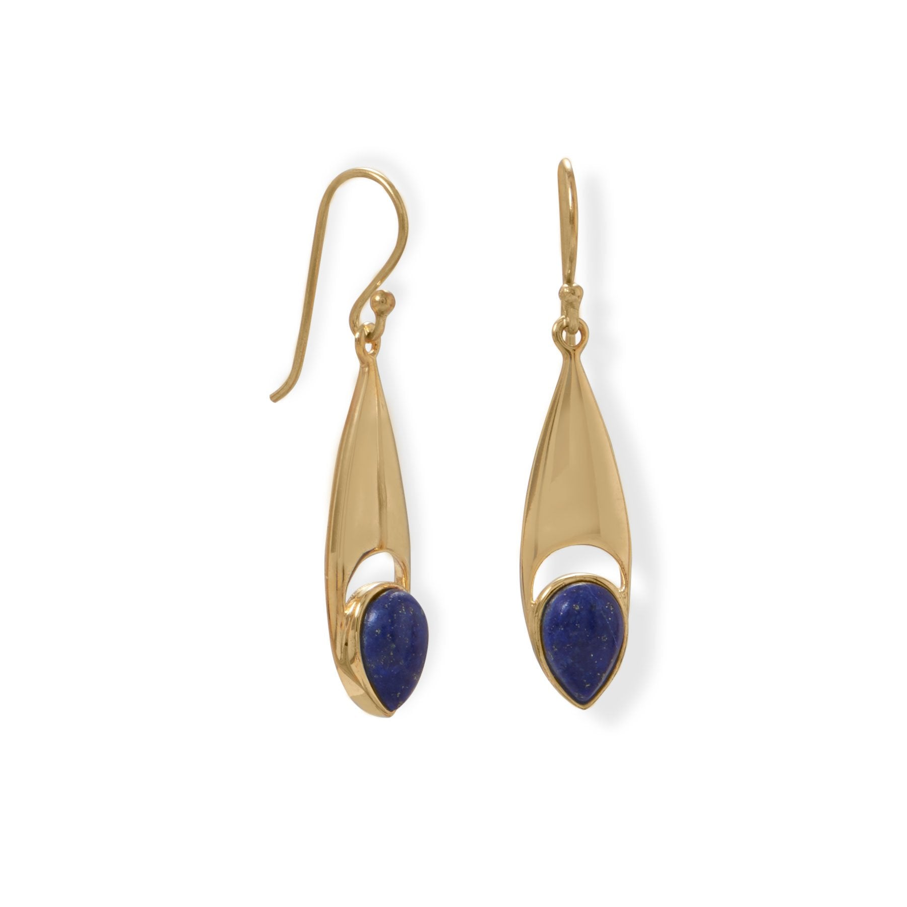 925 Sterling Silver 14 Karat Gold Plated Pear Shaped Lapis Earrings