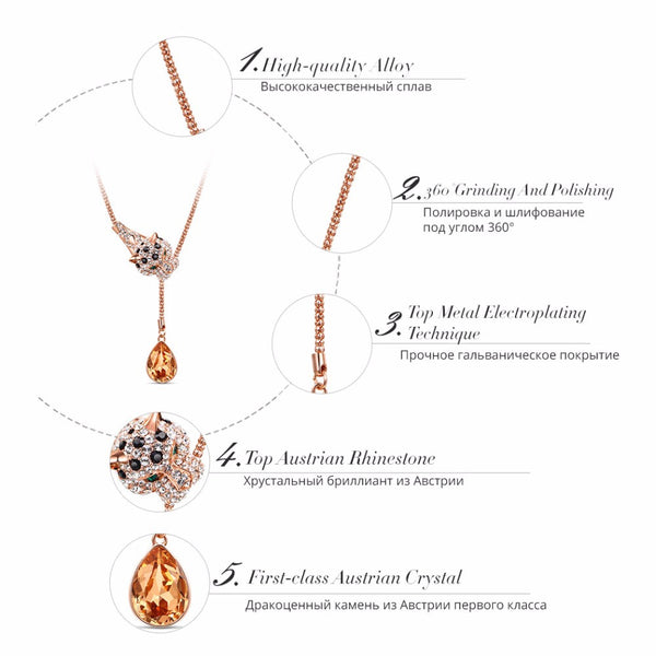 New Viennois Fashion Jewelry Rose Gold Alloy Leopard Pendant Necklace Orange Crystal Full Rhinestone Paved Necklaces - Rocky Mt. Outlet Inc - Shop & Save 24/7