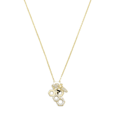 14 Karat Gold Plated and Signity CZ Bee Necklace - Rocky Mt. Discount Outlet