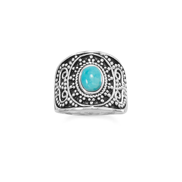 .925 Sterling Silver Oxidized Beaded Design Reconstituted Turquoise Ring