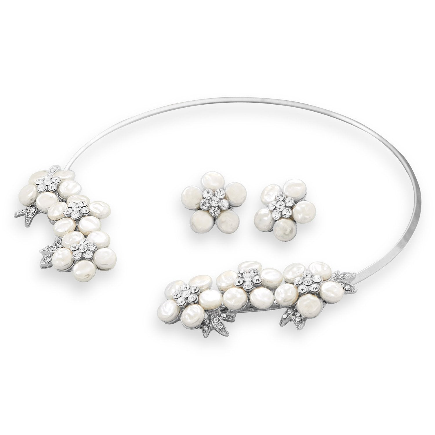 Simulated Pearl and Crystal Floral Fashion Collar and Earring Set - Rocky Mt. Outlet Inc - Shop & Save 24/7