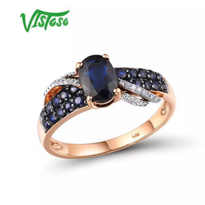 14K 585 Rose Gold Elegant Diamond Blue Sapphire Ring Fine Jewelry