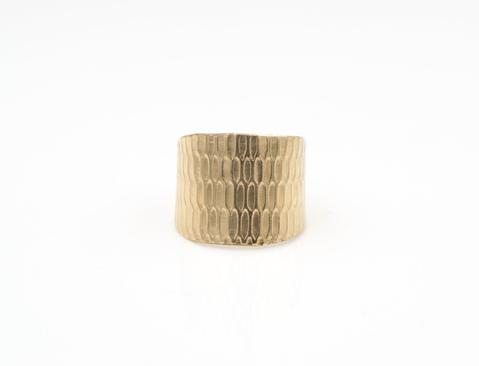 14k Gold-Filled  Adjustable Mesh Textured Cuff Ring