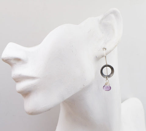 Amethyst - Sterling Silver - Textured - Disk Earrings