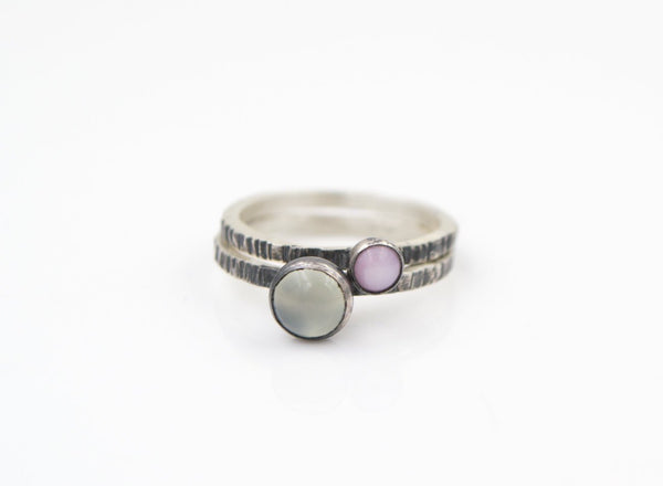 Chalcedony - Pink Opal - Stacking Rings  - Hammer Textured Bands - Recycled Sterling Silver