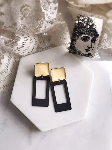 portrait earrings - slate